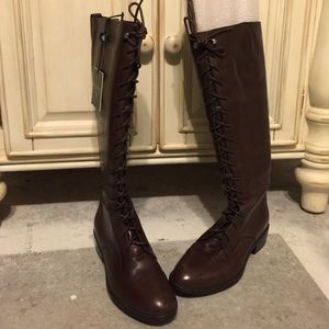 Ralph Lauren wife calf leather brown boots zip up