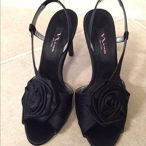 Nina Shoes - Nina Black Satin High Heel Sandals Rose Flower Bow