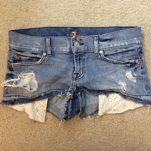 7 For All Mankind denim shorts with lace pockets