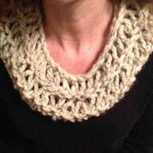 Hand knit scarf, lightweight, neutral color