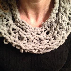 Hand knit scarf, soft sweater yarn