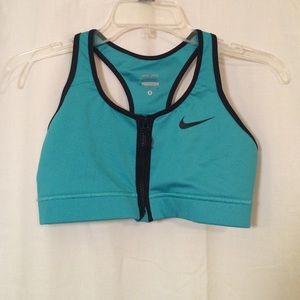 Nike Dri-Fit Small Teal Zip Up Sports Bra