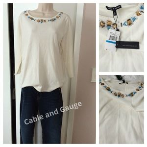 Cable&Gauge cream light weight top with bling !