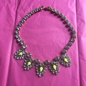 J.crew statement necklace neon chevron crystal