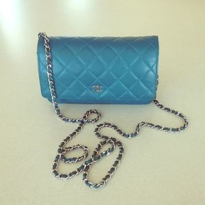 Authentic Classic Quilted CHANEL WOC Teal/ Silver