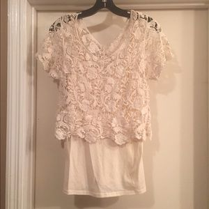 Tops - Lace top with cami, cream