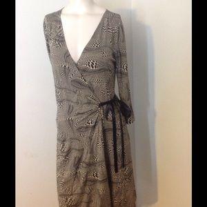 Express Black White Print Wrap Dress S