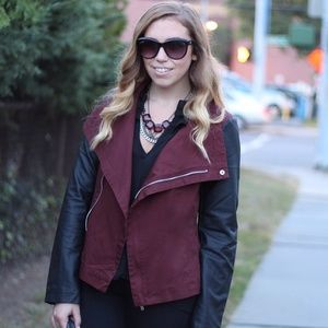 Lulu's Jackets & Blazers - Wine & black faux leather jacket