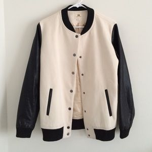 Black And Cream Varisty Jacket size M