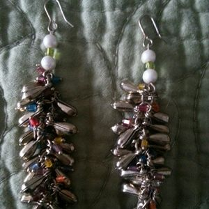Multicolored crystal dangling earrings