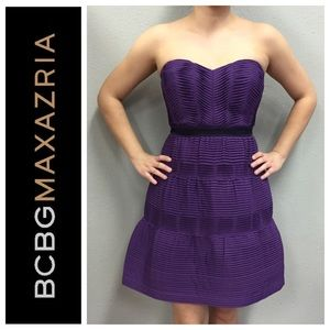 BCBG MAXAZRIA Purple Strapless Dress
