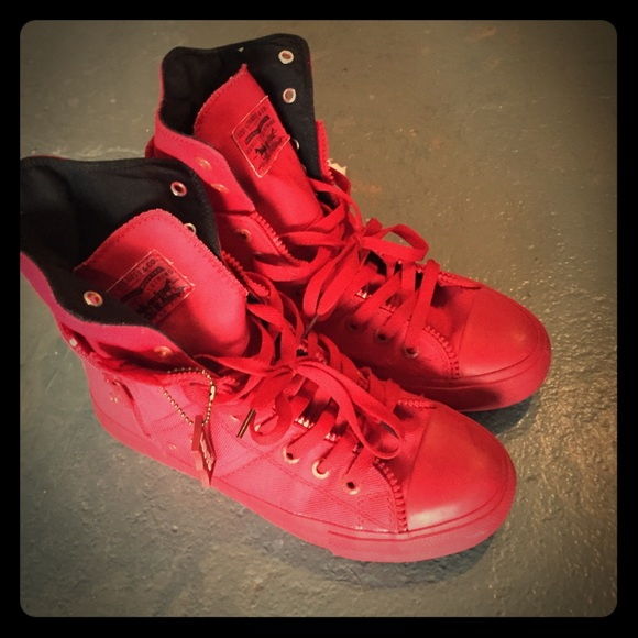 Levi's Shoes | Red Black High Top Levis
