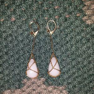 White stone Betsey Johnson earrings