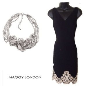 Maggy London Embroidered Bottom Sleeveless Dress