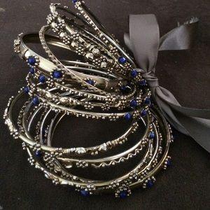 Amrita Singh Jewelry - AMRITA SINGH Gold Bangle Set of 12 Blue Stone