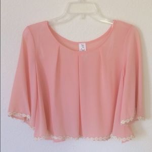 Tops - Pink Sunflower Hem Blouse