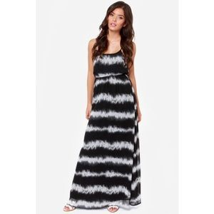 Black abstract striped maxi dress