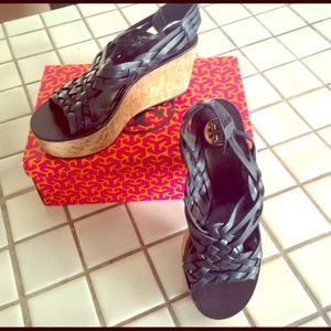 Tory Burch navy Killian cork wedges, VGUC sz 8