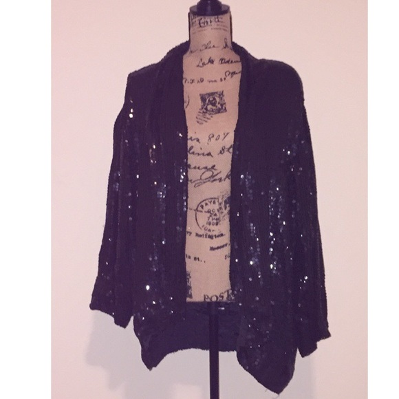 Jackets & Coats - All sequin open black blazer size 22/24