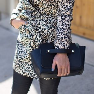 Zara Black Foldover Clutch & Crossbody Bag