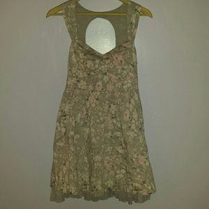FREE PEOPLE Grey, white, pink floral summer dress