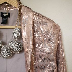 H&M Jackets & Blazers - Sequined blazer rose gold peach pink business glam