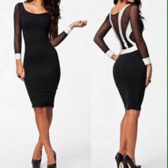 8ecf2937a62 Dresses & Skirts - SEXY Black/white mesh long sleeve body-con dress!
