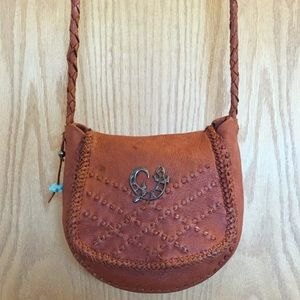 Vintage Cognac Leather Flap Bag