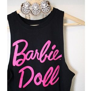 Tops - Barbie doll muscle tank black pink hot girly top