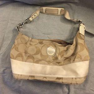 984c12a9215b Coach Bags - Cream color Coach signature Stripe small purse