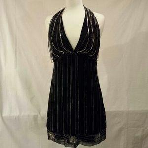 Dresses & Skirts - Bebe black fringe halter shift dress, beautiful!