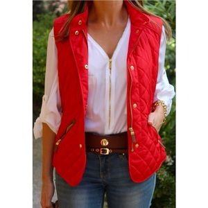 Zara Outerwear - ⛔️HOLD4KENNY⛔️+ Zara red quilting leather vest NWT