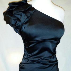 Dresses & Skirts - Cache' one shoulder shift Black Cocktail dress