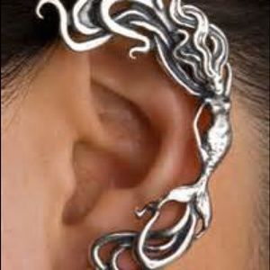 Silver mermaid earcuff earrings
