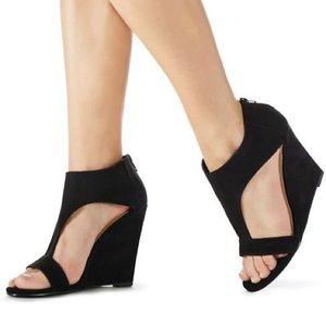Black Suede T-Strap Wedges