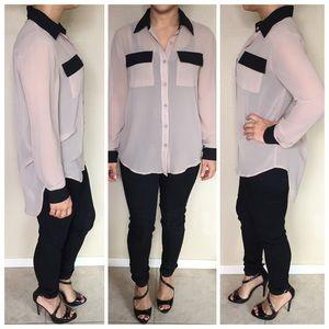 Forever 21 Tops - Forever 21 Beige & Black Sheer Buttoned Shirt