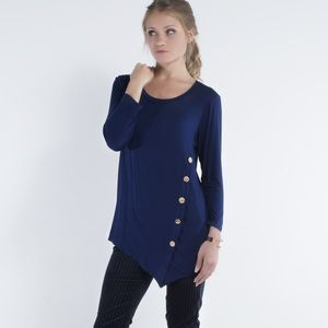 """Blue Blood"" Button Detail Top"