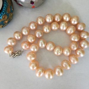 Jewelry - 🎉2xHP🎉Rare 12-14mm Pink Pearl Necklace 925 Clasp