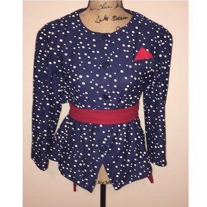 Jackets & Blazers - Navy polka dot blazer size Xl