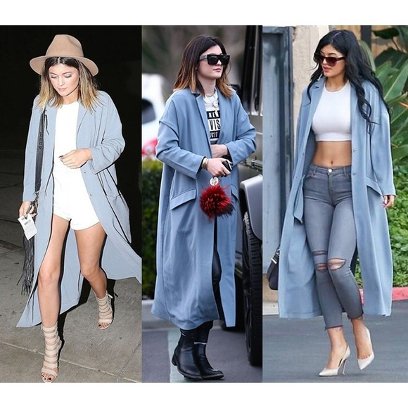 super quality clear-cut texture Official Website Powder blue duster coat NWT
