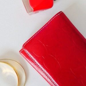 Coach signature slim red leather wallet