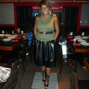Black Faux Leather  A-line skirt w/pockets