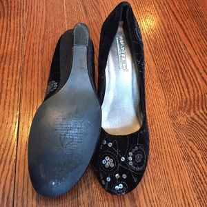 wanted black sequined wedge from kassie s closet on poshmark