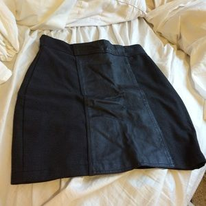 Black (partially leather) skirt