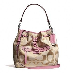 NEW Authentic Coach Signature Drawstring Hobo