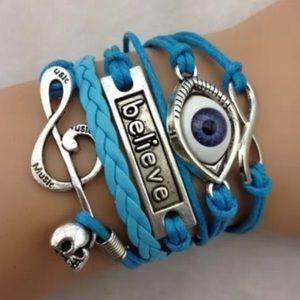 Jewelry - Retro Infinity Eye Believe Note Skull Bracelet
