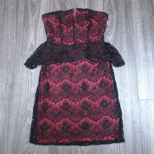 NEW kimchi blue strapless red lace peplum dress