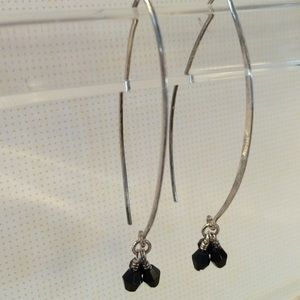 Jewelry - Sterling Dangles with black crystals