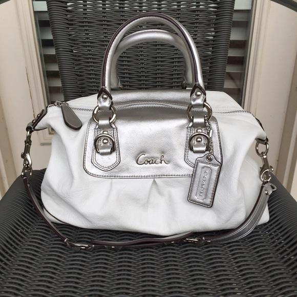 51% off Coach Handbags - $498 Coach White w Silver Ashley Satchel ...