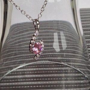 "Jewelry - 💘925 Silver Pink/White Topaz 18"" Italian Necklace"